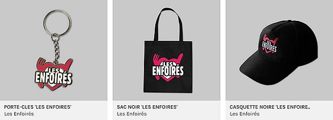 """Porte-clés / Sac noir / Casquette noire """"Les Enfoirés"""""""