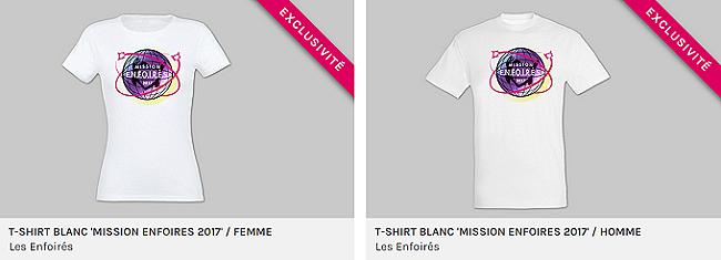 """T-shirt blanc """"Mission Enfoirés 2017"""""""
