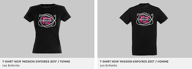 """T-shirt noir """"Mission Enfoirés 2017"""""""